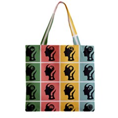 Question Face Think Zipper Grocery Tote Bag by AnjaniArt