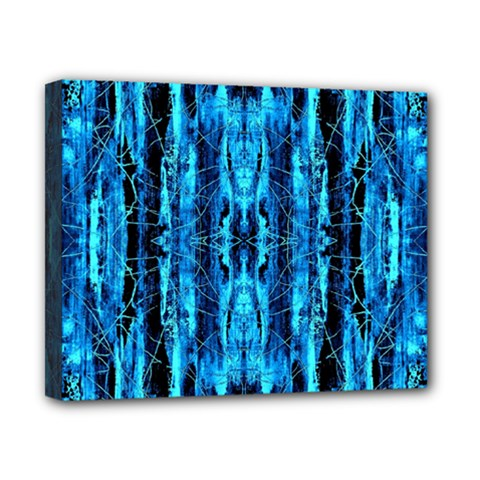 Bright Blue Turquoise  Black Pattern Canvas 10  X 8