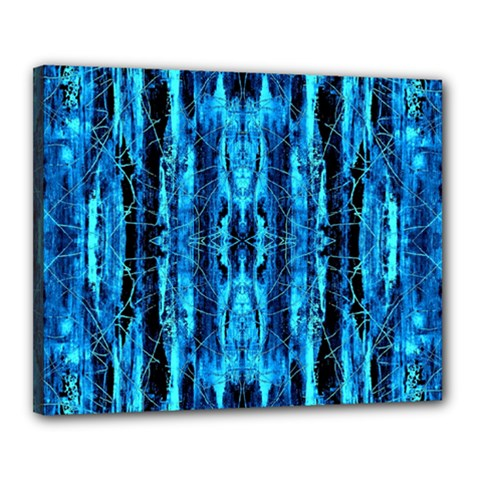 Bright Blue Turquoise  Black Pattern Canvas 20  X 16  by Costasonlineshop