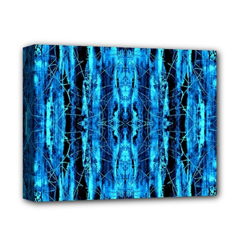 Bright Blue Turquoise  Black Pattern Deluxe Canvas 14  X 11