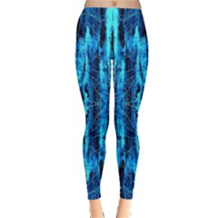 Bright Blue Turquoise  Black Pattern Leggings