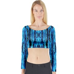 Bright Blue Turquoise  Black Pattern Long Sleeve Crop Top