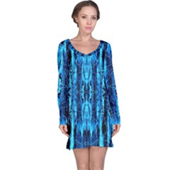 Bright Blue Turquoise  Black Pattern Long Sleeve Nightdress