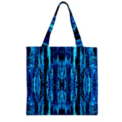 Bright Blue Turquoise  Black Pattern Zipper Grocery Tote Bag by Costasonlineshop