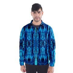 Bright Blue Turquoise  Black Pattern Wind Breaker (men)