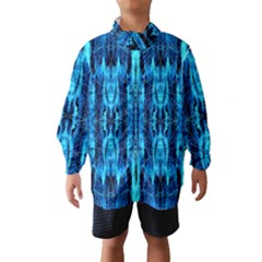 Bright Blue Turquoise  Black Pattern Wind Breaker (kids)