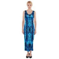 Bright Blue Turquoise  Black Pattern Fitted Maxi Dress