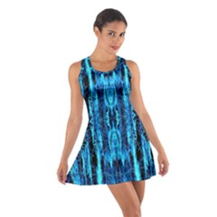 Bright Blue Turquoise  Black Pattern Cotton Racerback Dress