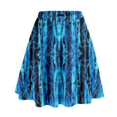 Bright Blue Turquoise  Black Pattern High Waist Skirt by Costasonlineshop