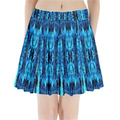 Bright Blue Turquoise  Black Pattern Pleated Mini Skirt