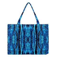 Bright Blue Turquoise  Black Pattern Medium Tote Bag