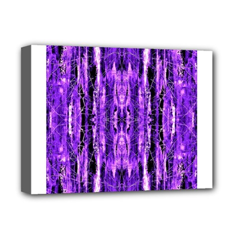 Bright Purple Rose Black Pattern Deluxe Canvas 16  X 12