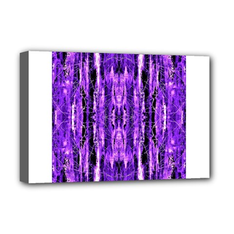 Bright Purple Rose Black Pattern Deluxe Canvas 18  X 12