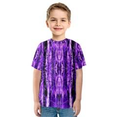 Bright Purple Rose Black Pattern Kids  Sport Mesh Tee