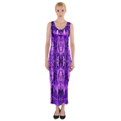 Bright Purple Rose Black Pattern Fitted Maxi Dress by Costasonlineshop