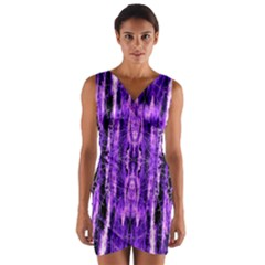 Bright Purple Rose Black Pattern Wrap Front Bodycon Dress