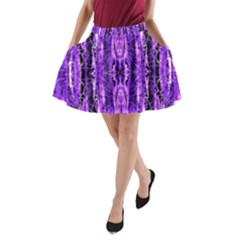 Bright Purple Rose Black Pattern A Line Pocket Skirt