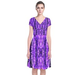 Bright Purple Rose Black Pattern Short Sleeve Front Wrap Dress