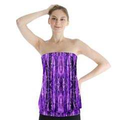 Bright Purple Rose Black Pattern Strapless Top by Costasonlineshop