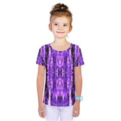 Bright Purple Rose Black Pattern Kids  One Piece Tee