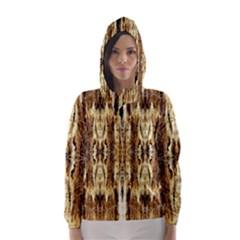 Beige Brown Back Wood Design Hooded Wind Breaker (women)