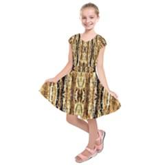 Beige Brown Back Wood Design Kids  Short Sleeve Dress