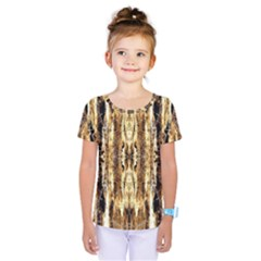 Beige Brown Back Wood Design Kids  One Piece Tee
