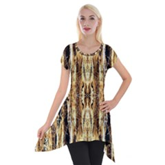 Beige Brown Back Wood Design Short Sleeve Side Drop Tunic
