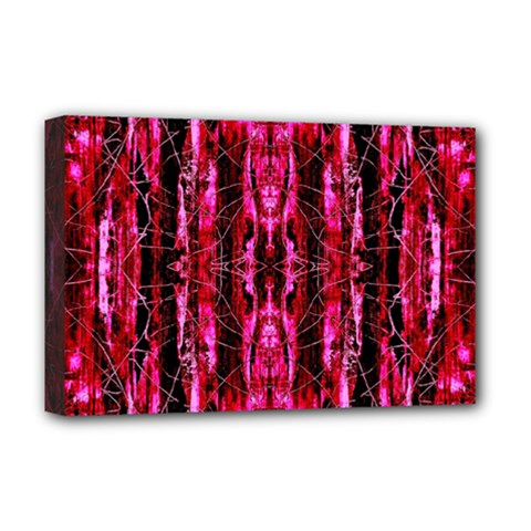 Pink Burgundy Traditional Pattern Deluxe Canvas 18  X 12   by Costasonlineshop