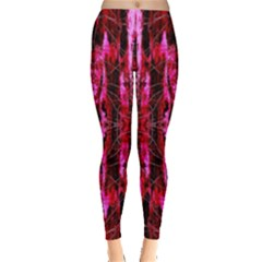 Pink Burgundy Traditional Pattern Leggings  by Costasonlineshop