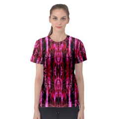 Pink Burgundy Traditional Pattern Women s Sport Mesh Tee