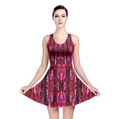 Pink Burgundy Traditional Pattern Reversible Skater Dress