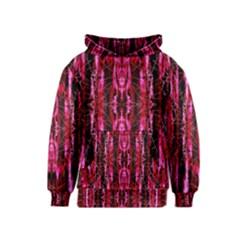 Pink Burgundy Traditional Pattern Kids  Pullover Hoodie