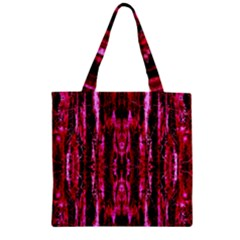 Pink Burgundy Traditional Pattern Zipper Grocery Tote Bag by Costasonlineshop