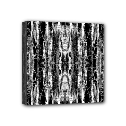Black White Taditional Pattern  Mini Canvas 4  X 4