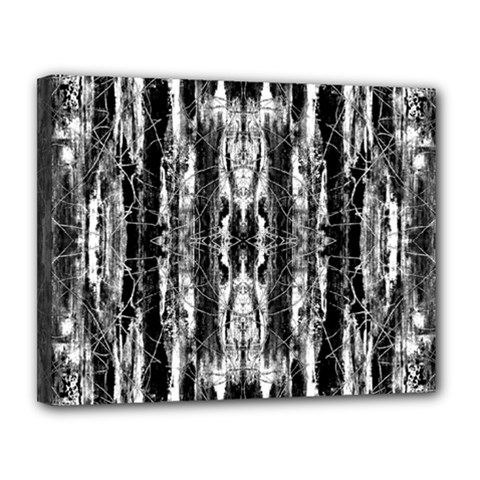 Black White Taditional Pattern  Canvas 14  X 11