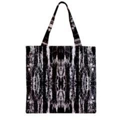 Black White Taditional Pattern  Zipper Grocery Tote Bag
