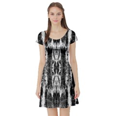 Black White Taditional Pattern  Short Sleeve Skater Dress