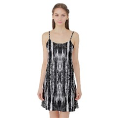Black White Taditional Pattern  Satin Night Slip