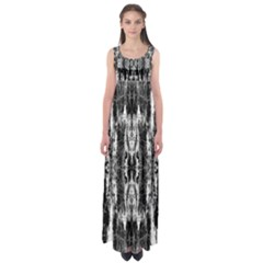 Black White Taditional Pattern  Empire Waist Maxi Dress
