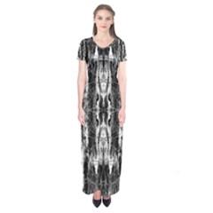 Black White Taditional Pattern  Short Sleeve Maxi Dress