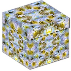 Blue Yellow Flower Girly Pattern, Storage Stool 12