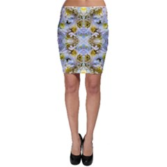 Blue Yellow Flower Girly Pattern, Bodycon Skirt