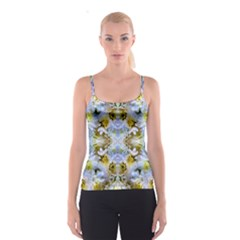 Blue Yellow Flower Girly Pattern, Spaghetti Strap Top