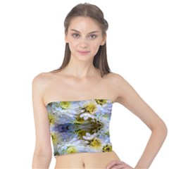 Blue Yellow Flower Girly Pattern, Tube Top by Costasonlineshop