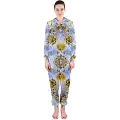Blue Yellow Flower Girly Pattern, Hooded Jumpsuit (ladies)