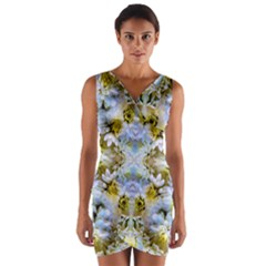 Blue Yellow Flower Girly Pattern, Wrap Front Bodycon Dress by Costasonlineshop