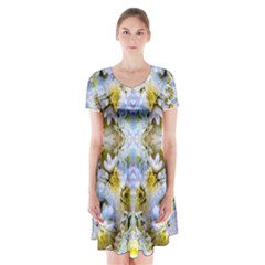 Blue Yellow Flower Girly Pattern, Short Sleeve V Neck Flare Dress by Costasonlineshop