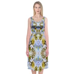 Blue Yellow Flower Girly Pattern, Midi Sleeveless Dress