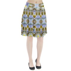 Blue Yellow Flower Girly Pattern, Pleated Skirt